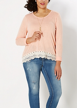 Plus Coral Crochet Hem Burnout Top