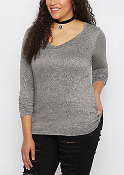 Plus Heather Gray V-Neck Soft Knit Top