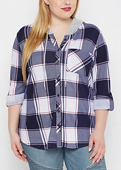 Plus Navy & Red Hooded Plaid Hacci Shirt