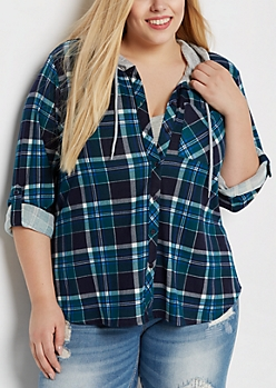 Plus Green & Navy Hooded Plaid Hacci Shirt