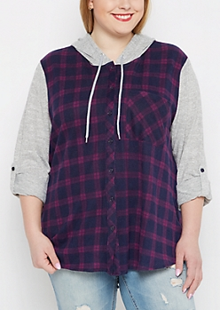 Plus Purple & Navy Hooded Plaid Hacci Blocked Shirt