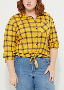 Plus Mustard Tie Front Boyfriend Plaid Shirt