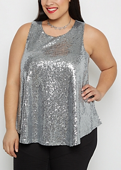 Plus Gray Sequined Tank Top