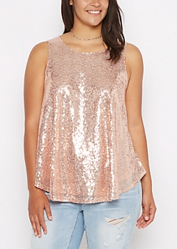 Plus Pink Sequined Tank Top