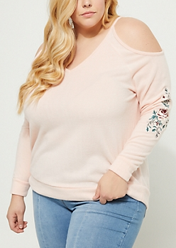 Plus Pink Cold Shoulder Embroidered Hacci Sweater