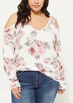 Plus Ivory Floral Cold Shoulder Hacci Knit Sweater
