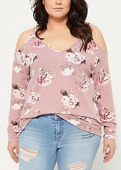 Plus Pink Floral Cold Shoulder Hacci Knit Sweater