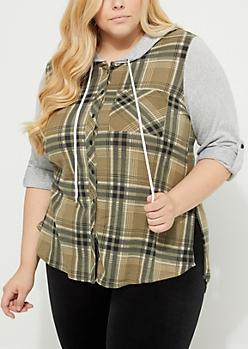 Plus Olive Plaid Hacci Knit Flannel Hoodie