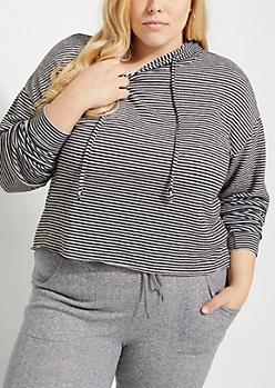 Plus Black Striped Hacci Knit Hoodie