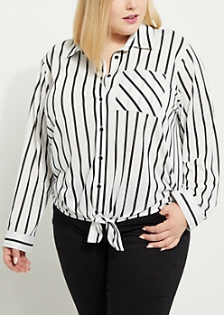 Plus White Striped Front Tie Top