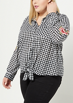 Plus Black Checkered Floral Front Tie Top