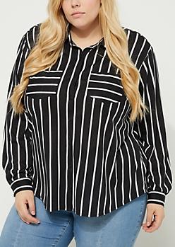 Plus Black Striped Button-Down Soft Knit Top