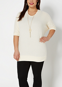 Plus Ivory Brushed Dolman Top