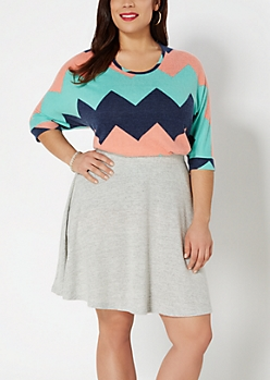 Plus Chevron Brushed Dolman Top