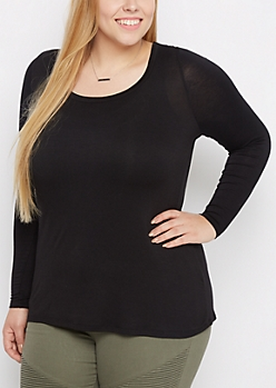 Plus Black Scoop Neck Top