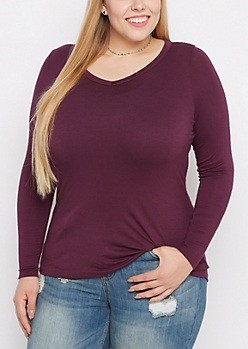 Plus Plum V-Neck Long Sleeve Top