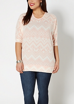 Plus Pink Tribal Chevron Brushed Dolman Top