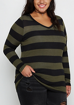 Plus Olive Wide Striped V-Neck Shirt