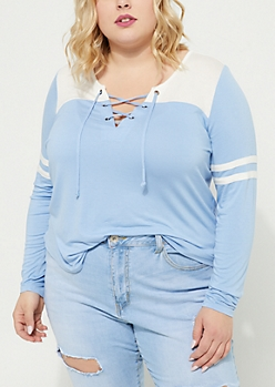 Plus Blue Athletic Striped Lace Up Tee