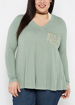 Plus Green Lace Pocket Swing Top