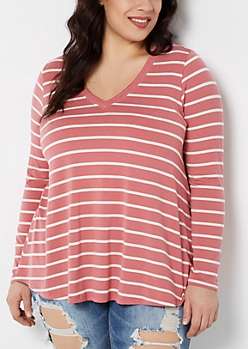 Plus Pink Striped V-Neck Swing Top