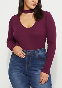 Plus Purple Rib Knit Keyhole Cutout Shirt