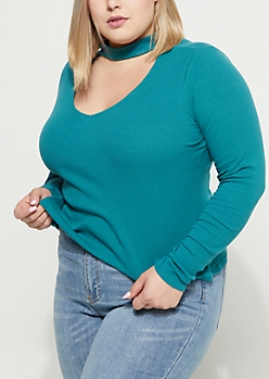 Plus Teal Rib Knit Keyhole Cutout Shirt
