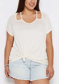 Plus Ivory Cut-Out Shoulder Tee