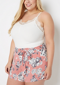 Plus Cream Lace Neck Soft Knit Cami