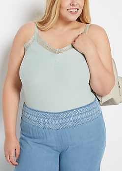 Plus Light Green Lace Neck Soft Knit Cami