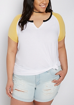 Plus Yellow & White Raglan Soft Knit Tee