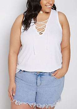 Plus White Ribbed Lace-Up Tank Top