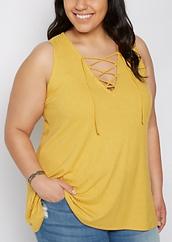 Plus Mustard Ribbed Lace-Up Tank Top
