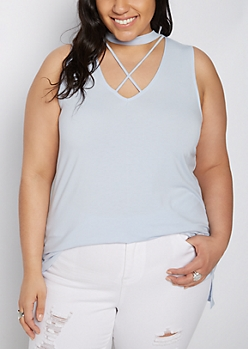 Plus Lavender Cutout Lattice Tank Top