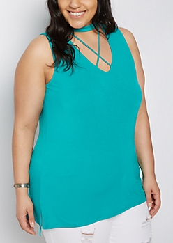 Plus Teal Cutout Lattice Tank Top