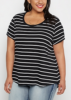 Plus Black Pencil Striped Shirttail Tee