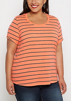 Plus Neon Pencil Striped Shirttail Tee