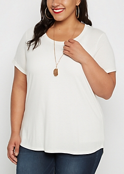Plus Ivory Shirttail Tee