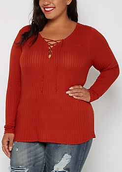 Plus Burnt Orange Wide Ribbed Lace-Up Top