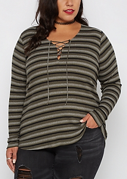 Plus Olive Striped Lace-Up Top