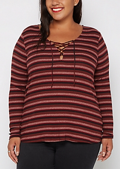 Plus Burgundy Striped Lace-Up Top