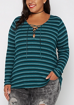 Plus Teal Striped Lace-Up Top