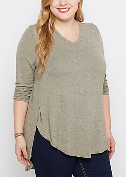 Plus Olive Marled V-Neck Shirttail Top
