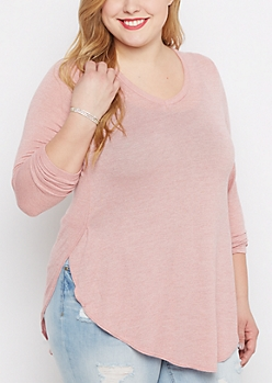 Plus Pink Marled V-Neck Shirttail Top