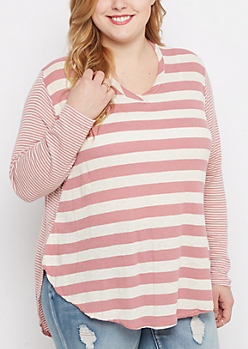 Plus Pink Mixed Stripe Shirttail Top