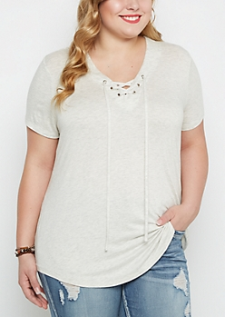 Plus Ivory Lace-Up Tee