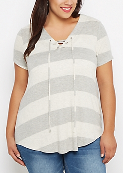 Plus Gray Striped Lace-Up Tunic Tee