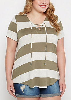 Plus Olive Striped Lace-Up Tunic Tee