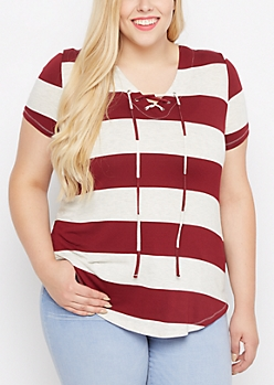Plus Burgundy Striped Lace-Up Tunic Tee