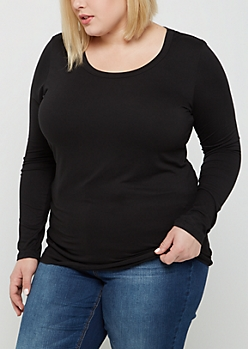 Plus Black Soft Brushed Long Sleeve Shirt
